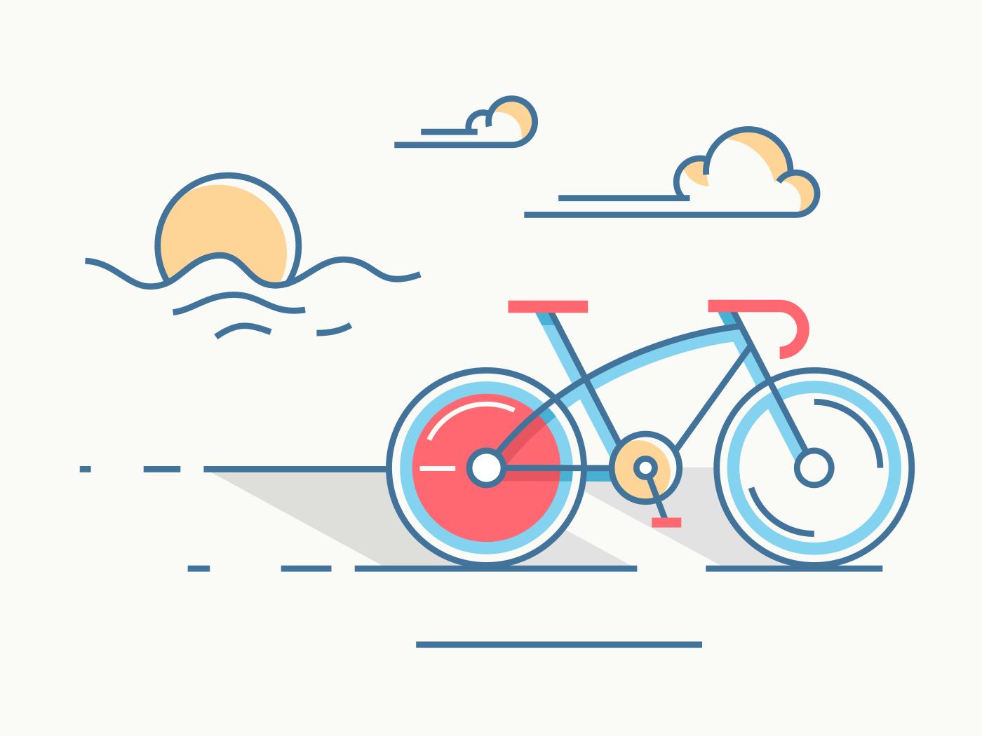 Sport bicycle at sunrise line vector illustration