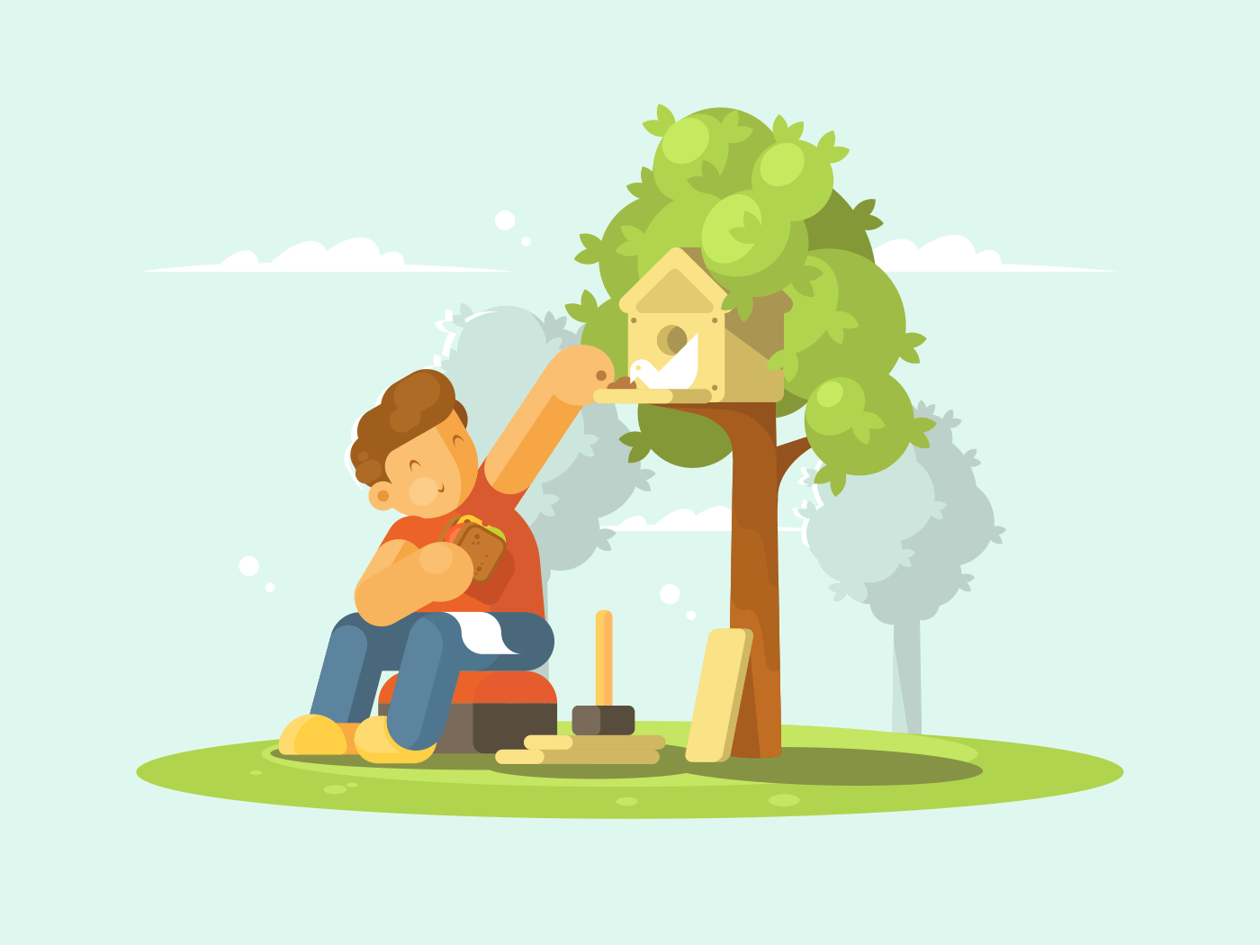 Boy feeding bird in birdhouse illustration