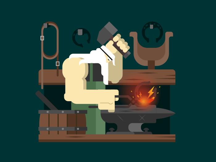 Blacksmith character flat vector illustration