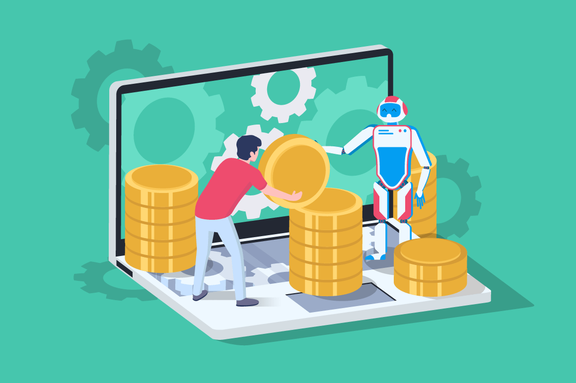 3d isometric blockchain ISO with server, laptop, bitcoin and man with support robot.