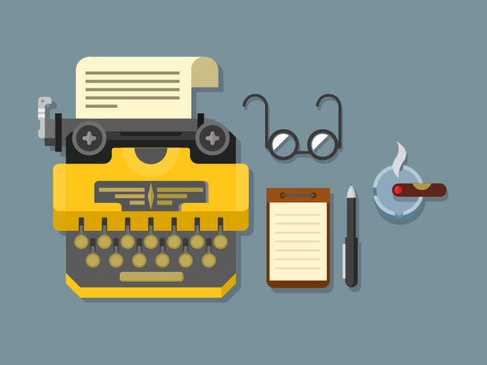Typewriter with glasses and notepad icons