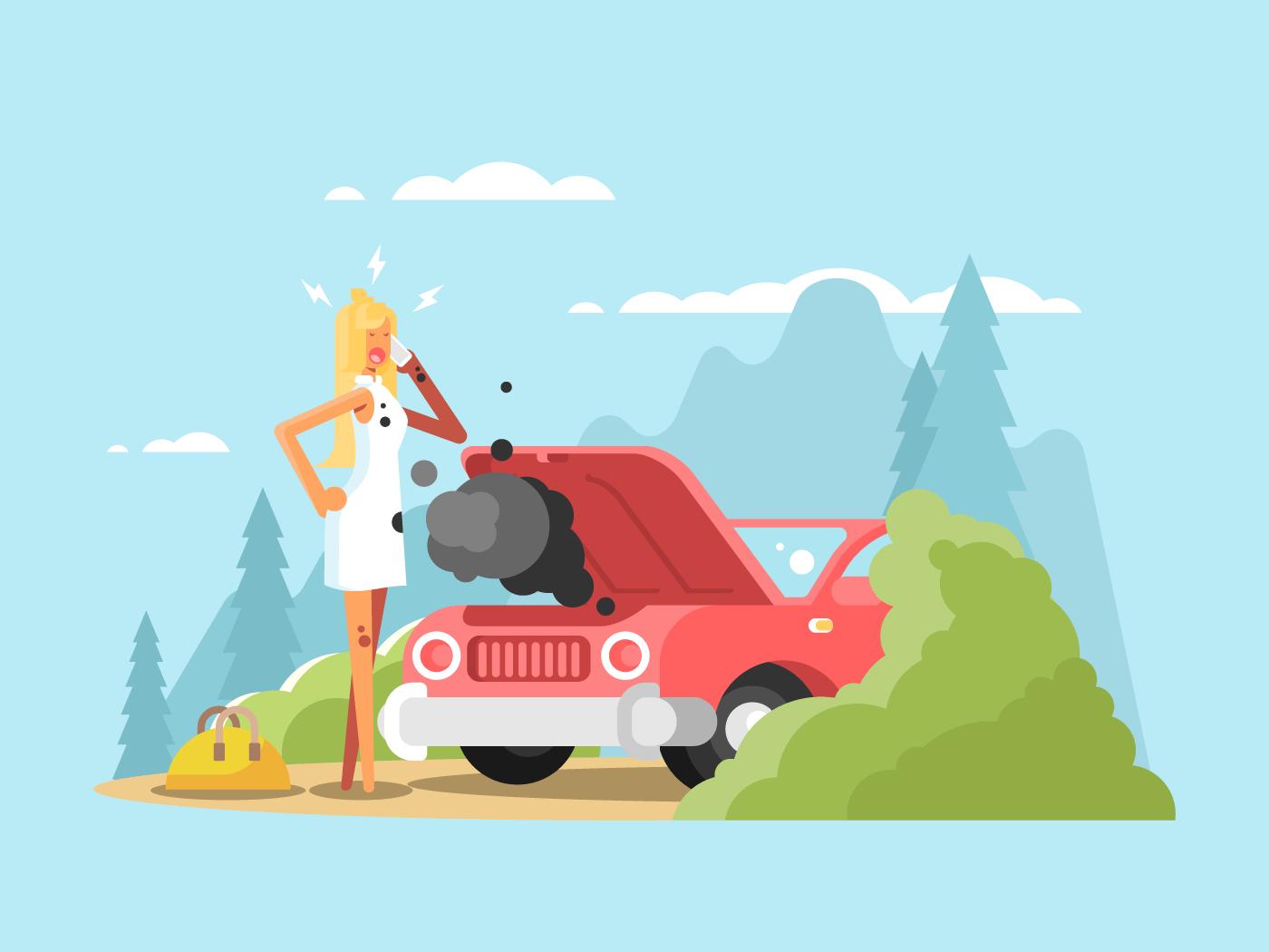 Blonde and broken car flat vector illustration