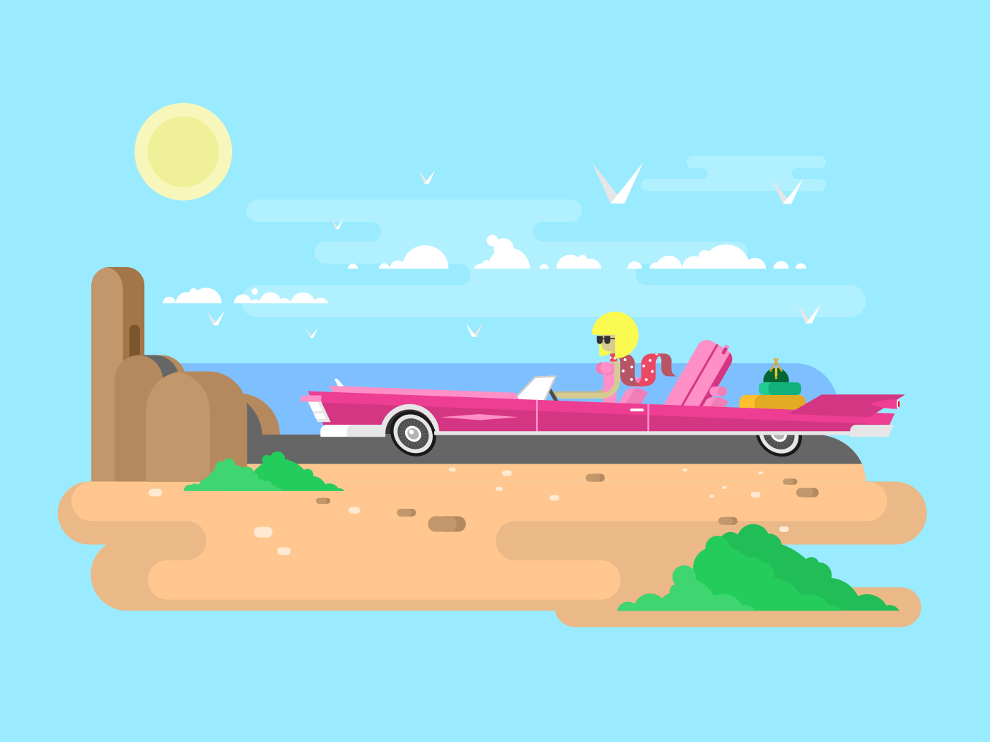 Blonde in a cabriolet on vacation flat vector illustration