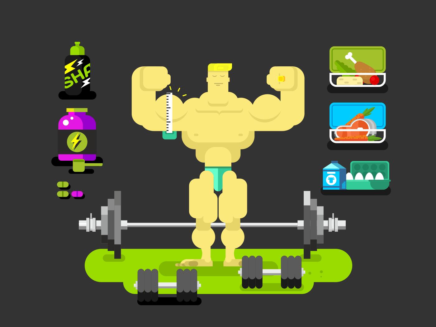 Bodybuilder character flat flat vector illustration