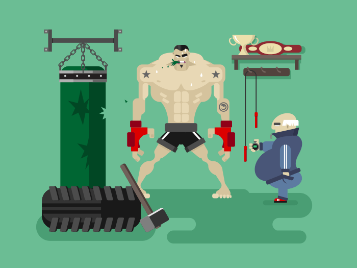 Boxer character in training flat vector illustration