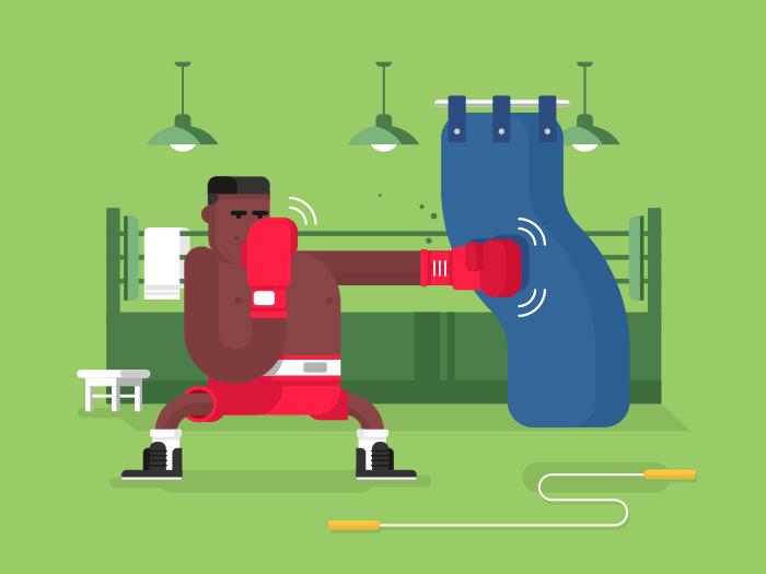 Boxer cartoon character flat vector illustration