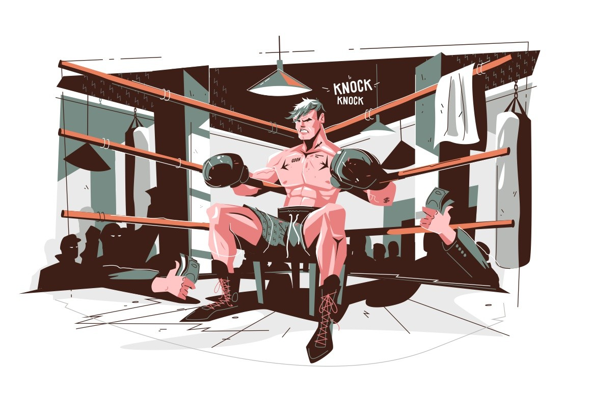 Boxer getting ready before final round vector illustration. Professional athlete in boxing gloves at boxing ring cartoon design. Martial art and sport concept. Isolated on white