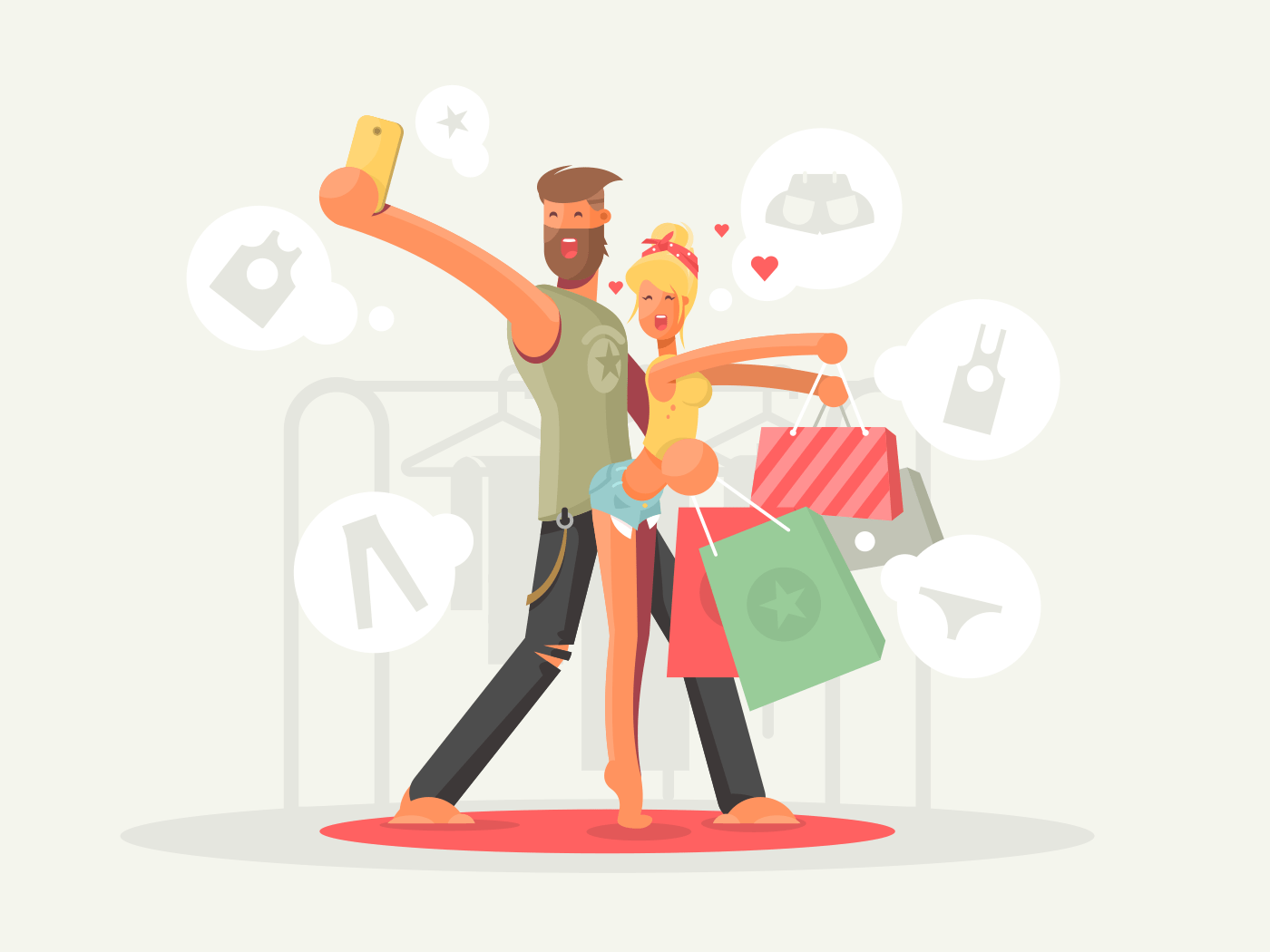 Boy and girl with shopping bags flat vector illustration