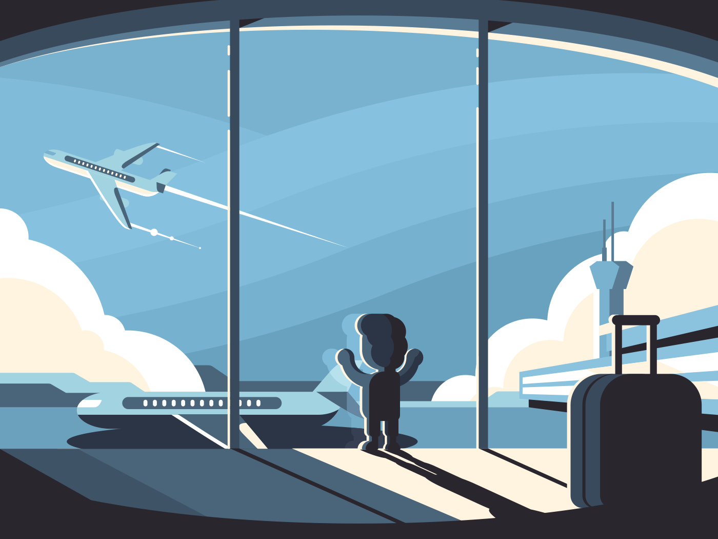 Little boy in airport terminal illustration