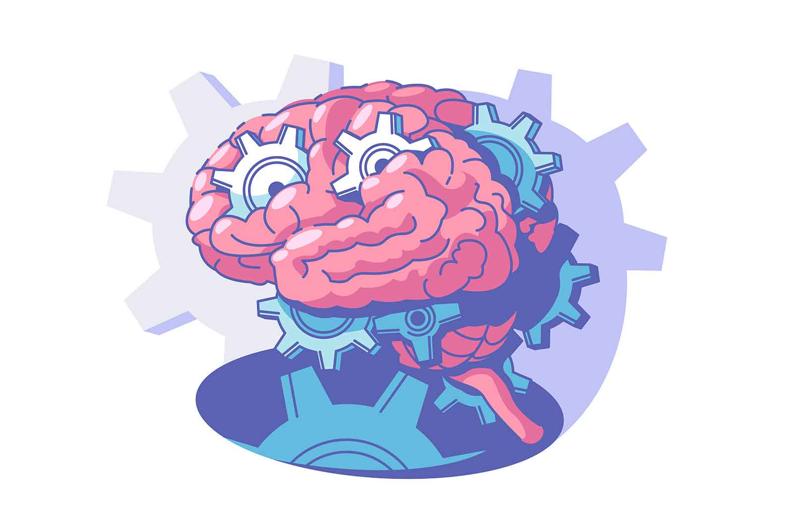 Process of brain activity vector illustration. Explore human mind flat style. Inside persons head. Thinking process and brainstorm concept. Isolated on white background