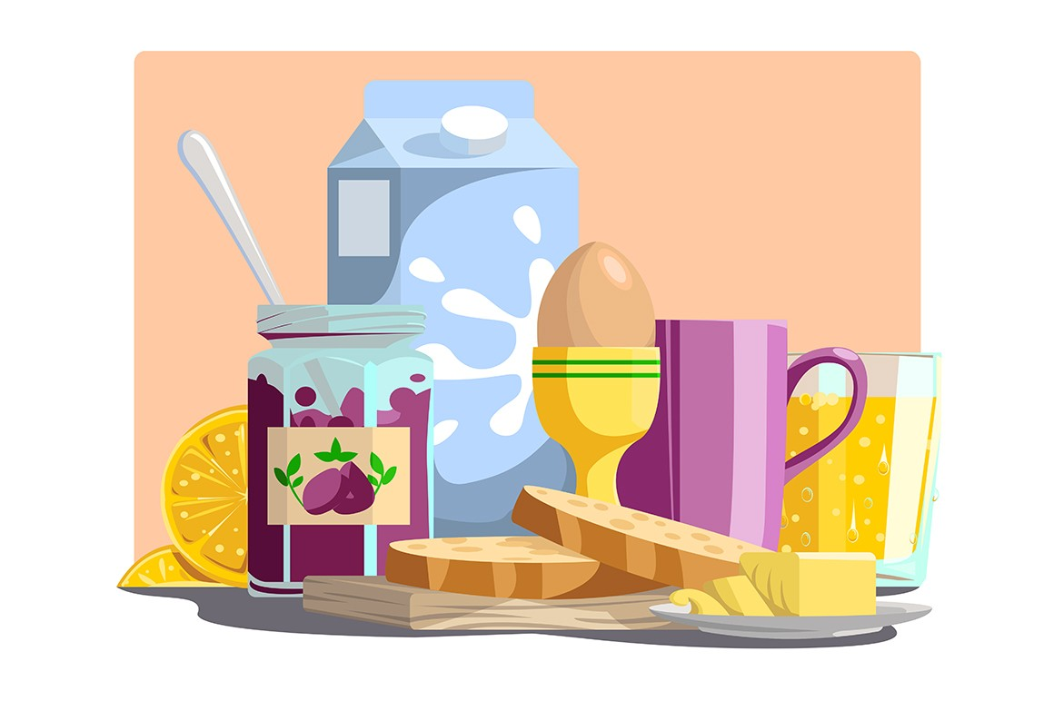 Healthy ingredients for meal in morning vector illustration. Jam, slices of bread, egg, milk, lemon and cup with drink cartoon design. Food and breakfast concept