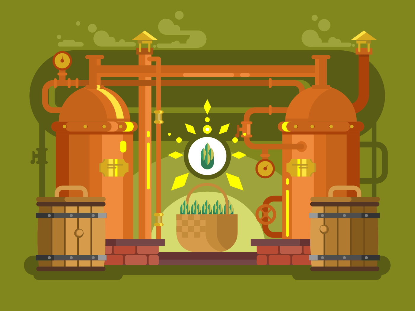 Brewery beer flat vector illustration