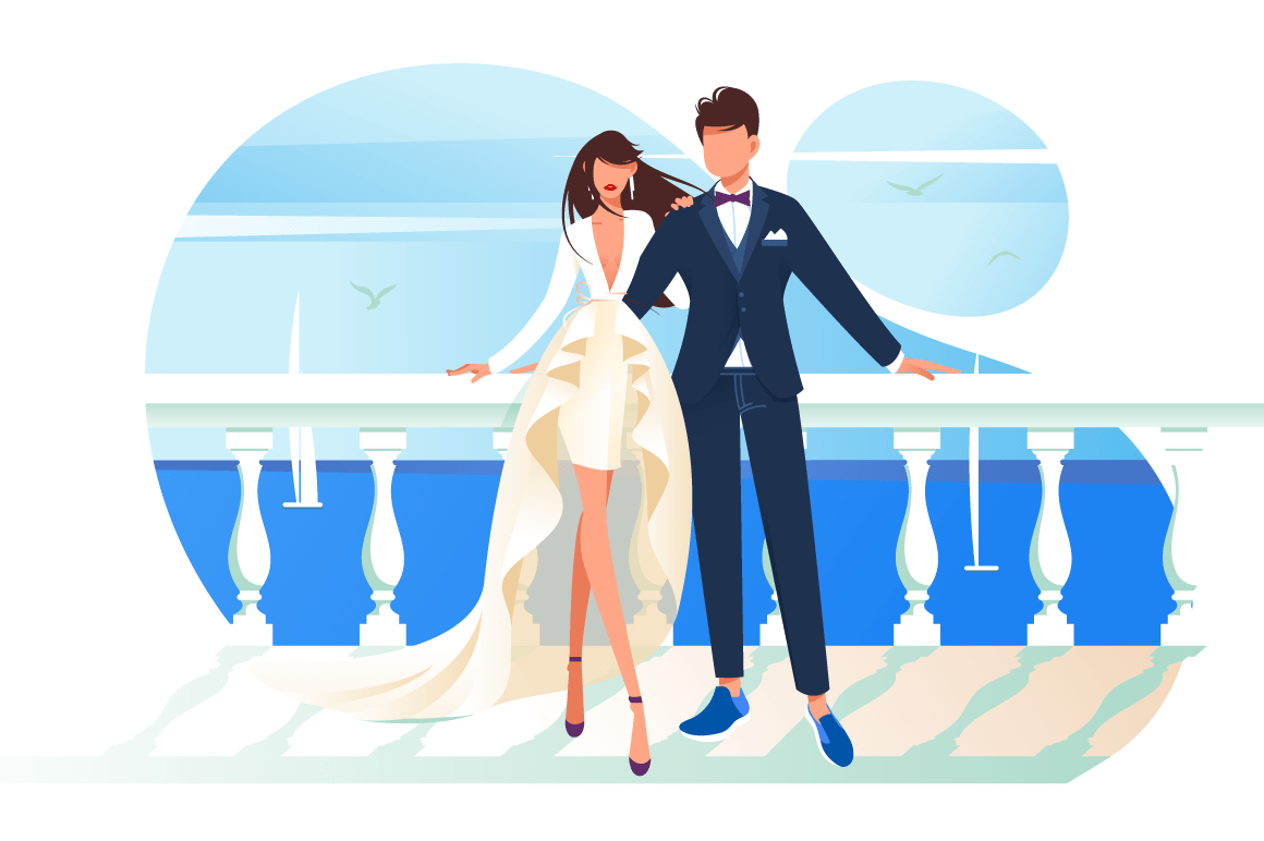 Flat bridal frame with woman bride and man groom.
