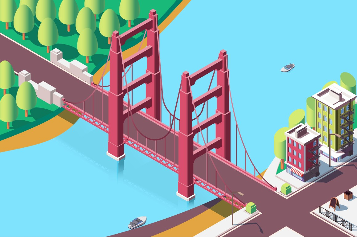 3d isometric classic new york bridge with urban landscape.