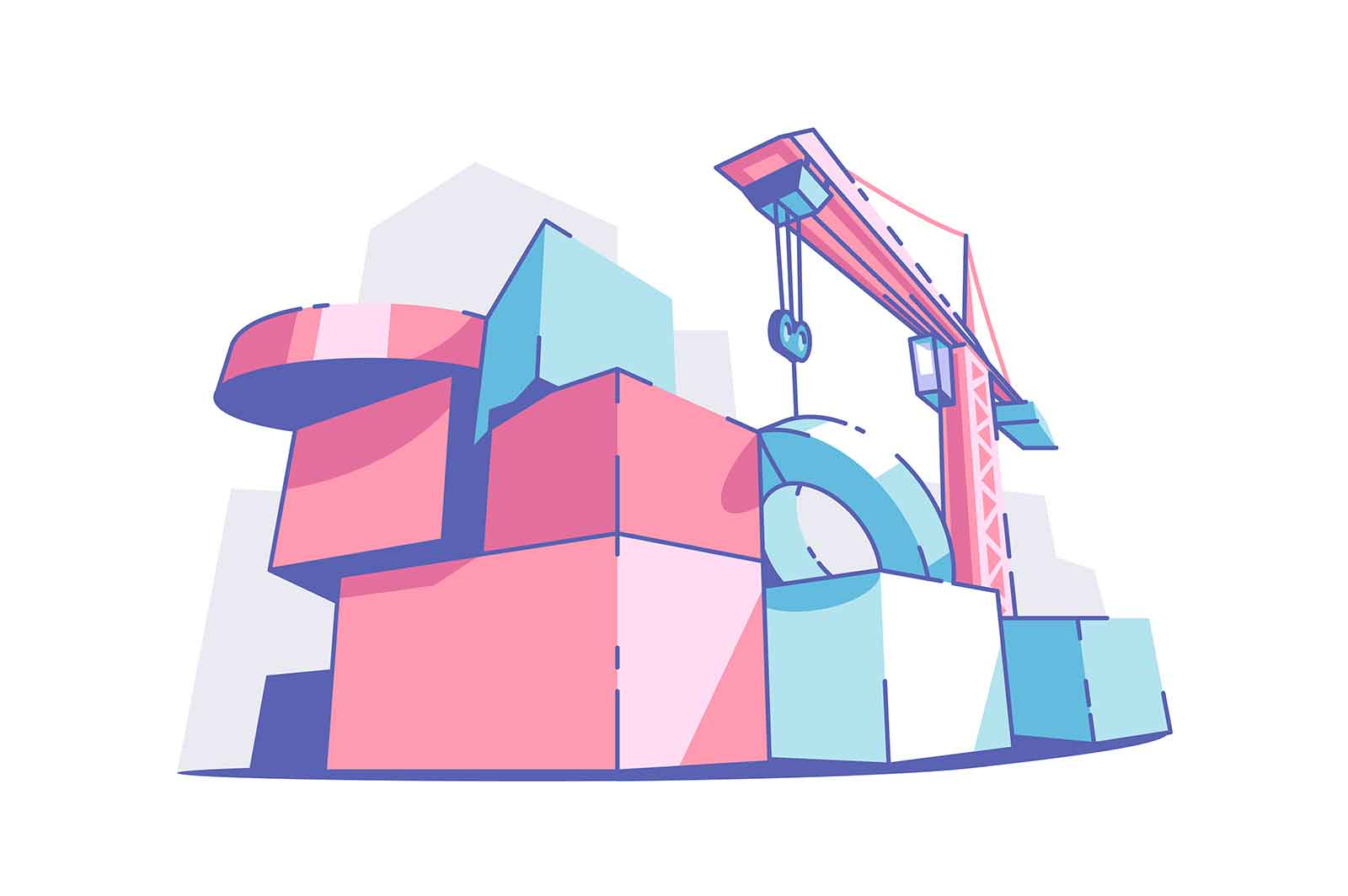 Colourful big building blocks vector illustration. Crane machine on site flat style. Construction site and renovation concept. Isolated on white background