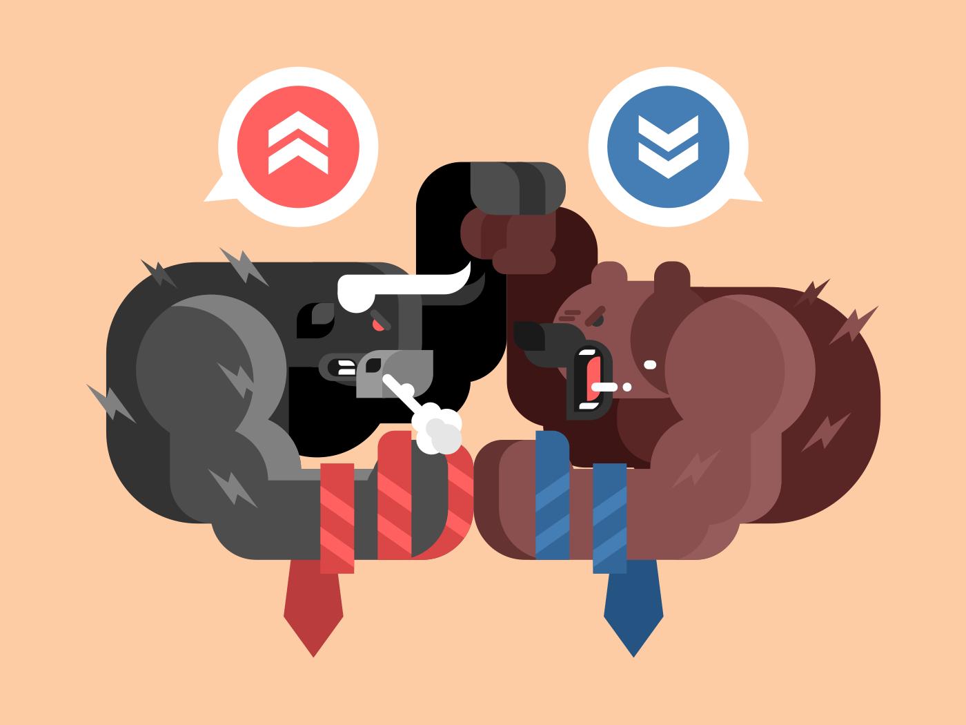 Bulls and bears fight flat vector illustration