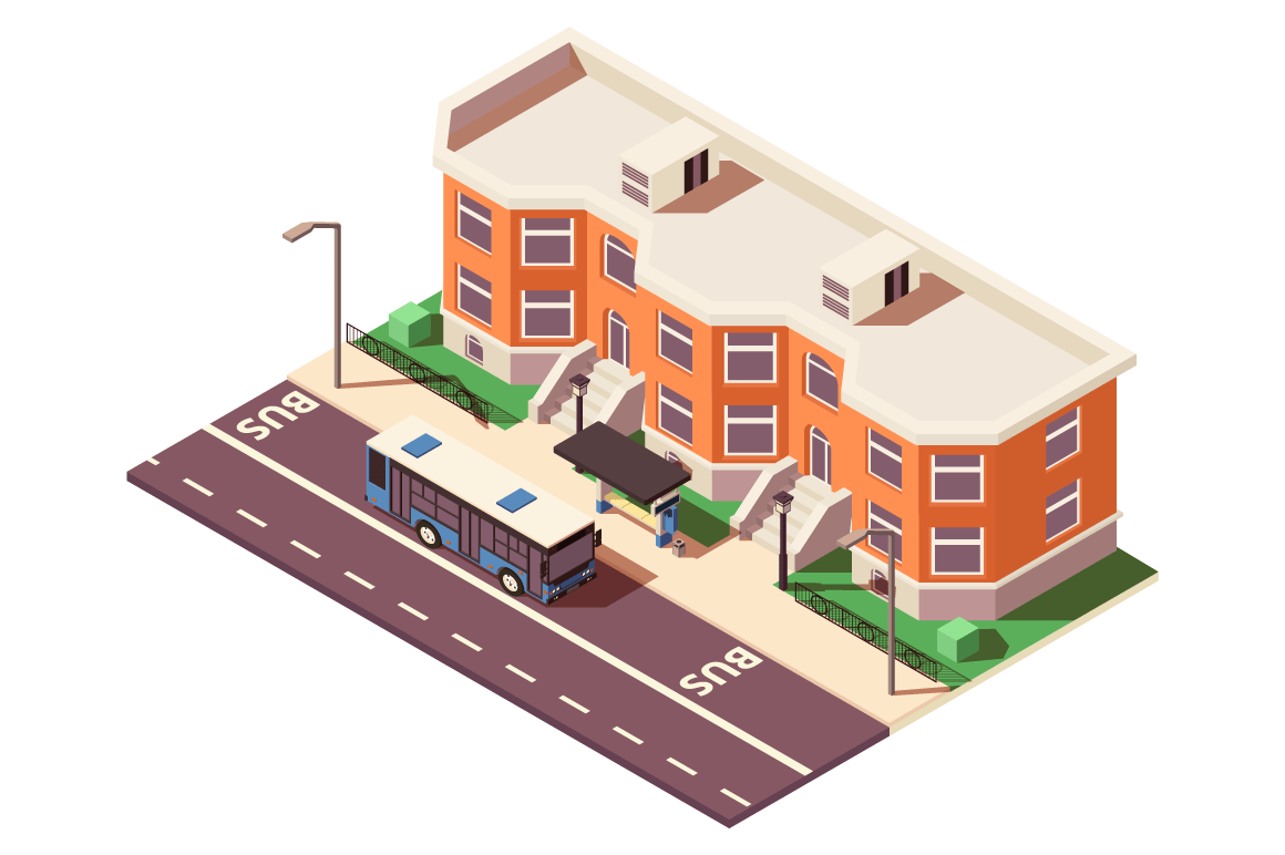 3d isometric bus stop in city near building and road.