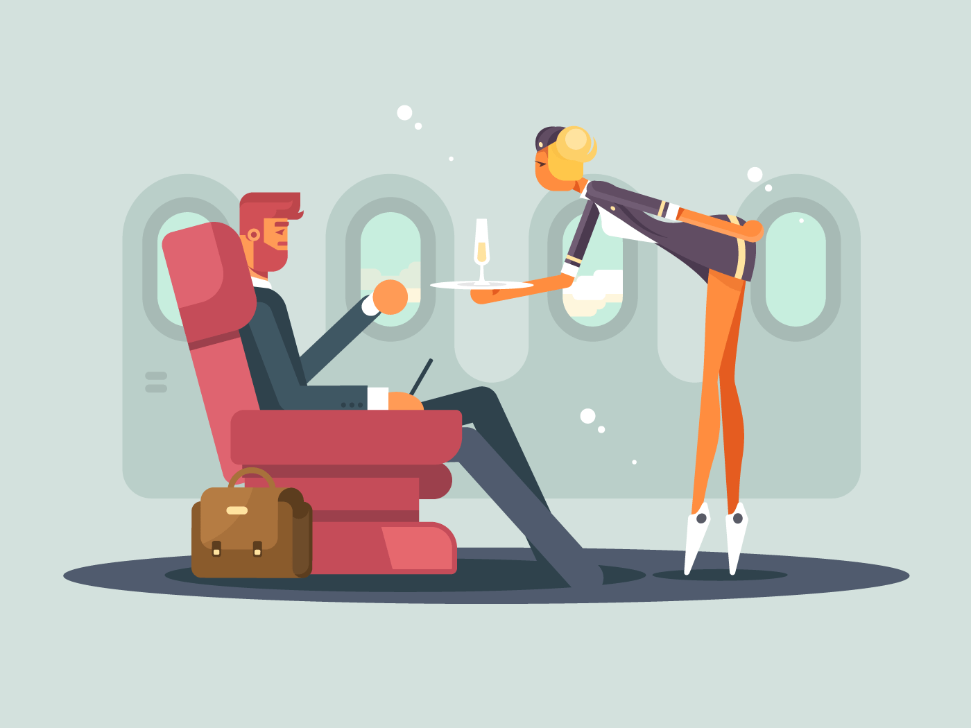 Business class on plane flat vector illustration