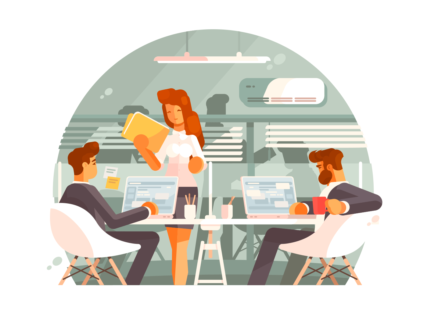Workflow in business office illustration