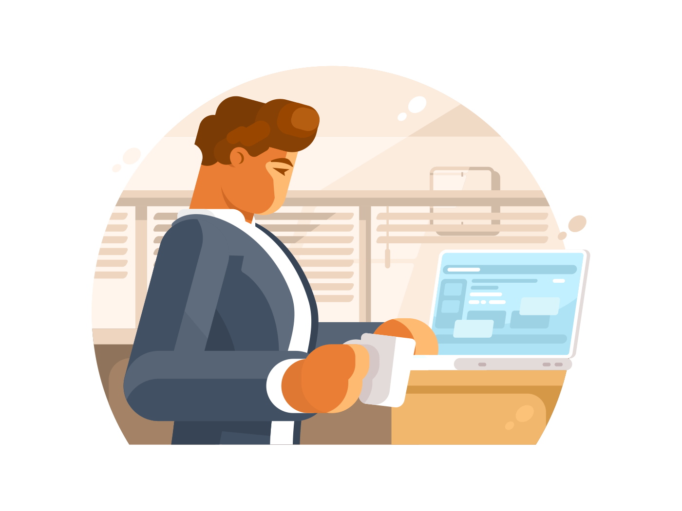Confident businessman in workplace illustration