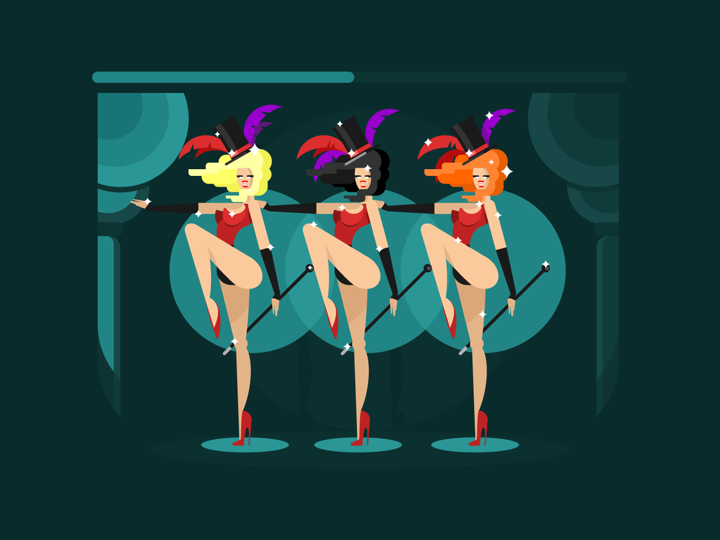 Cabaret dance girls flat vector illustration