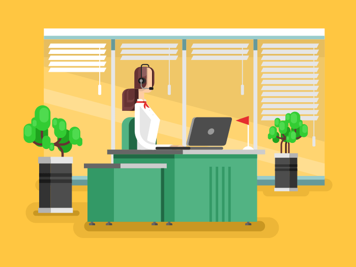 Operator in a call center flat vector illustration