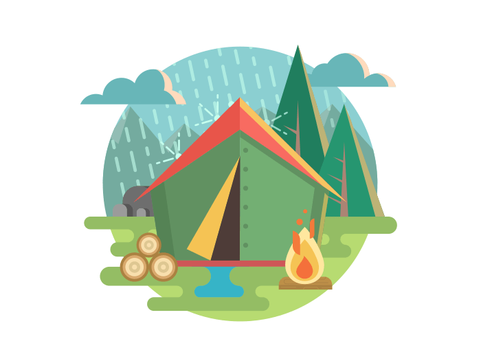 Outdoor recreation camping flat illustration