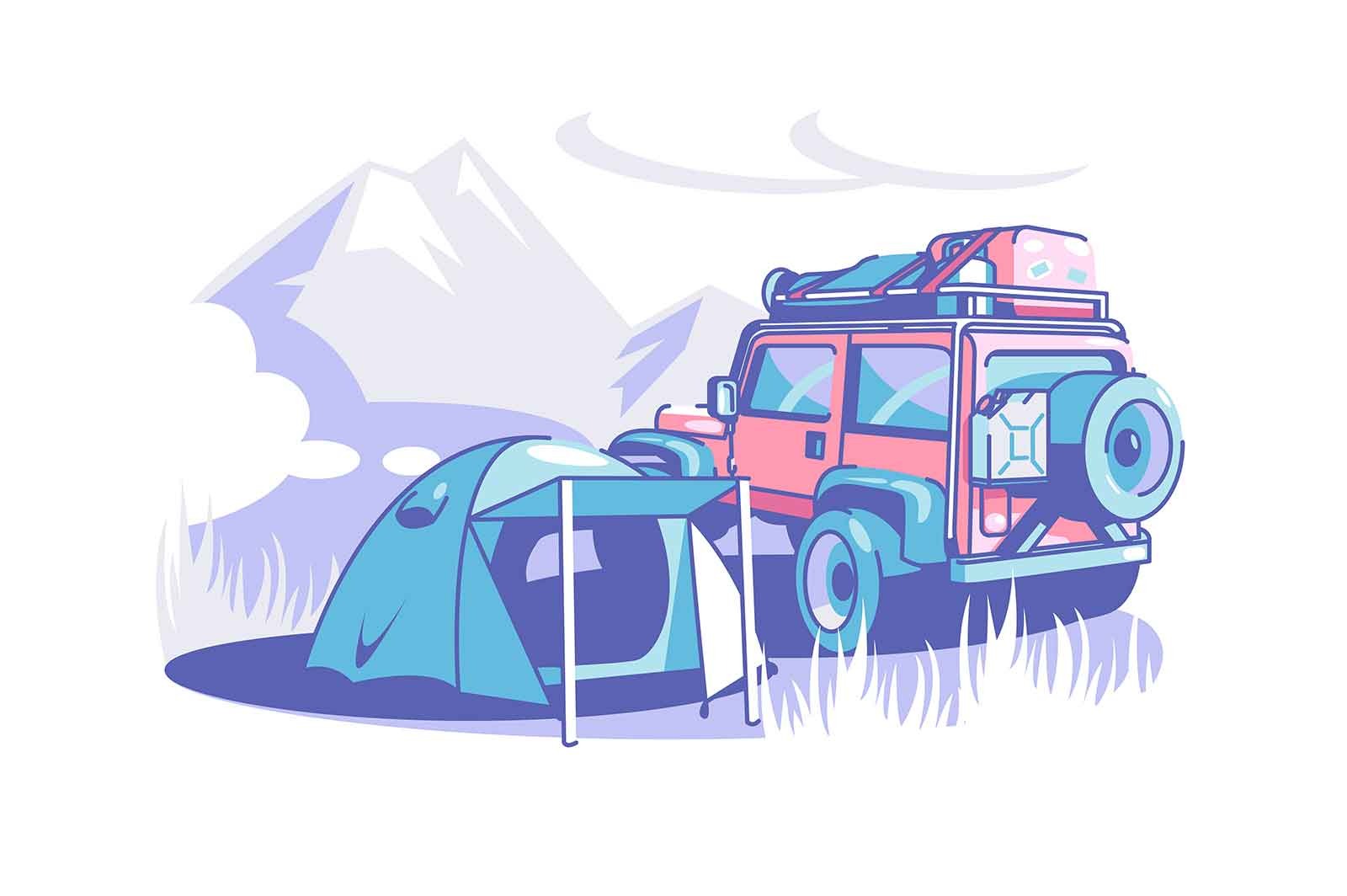 Tourist camp tent and suv vector illustration. Camping adventure, mountain and forest wild nature travel trips flat style. Scout expedition and extreme wilderness exploration hiking club