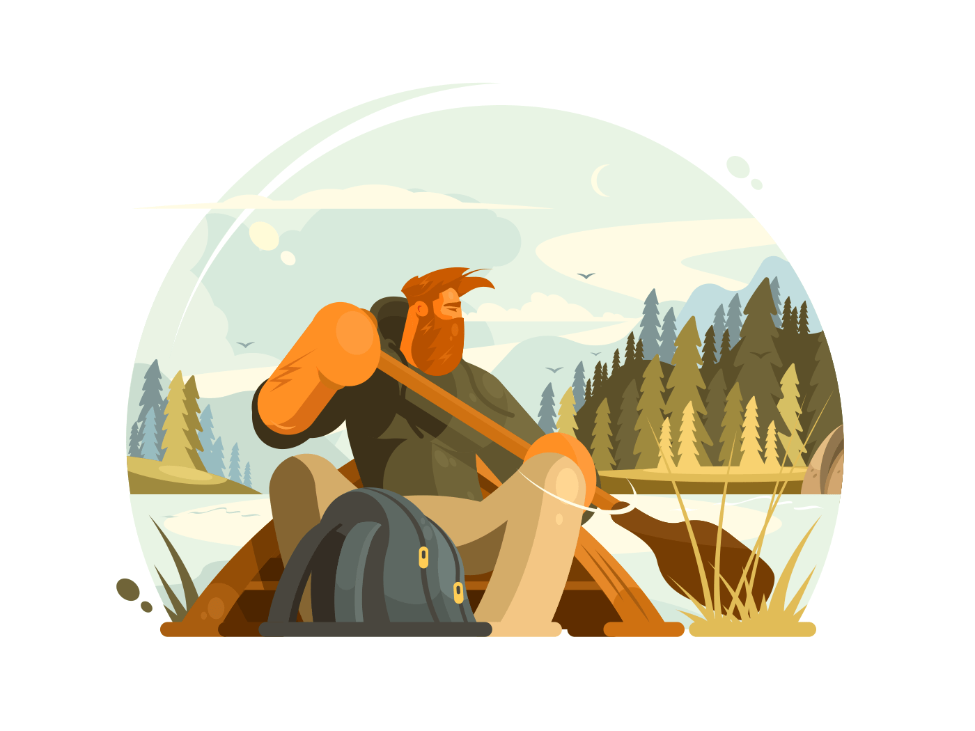 Bearded man in canoe illustration