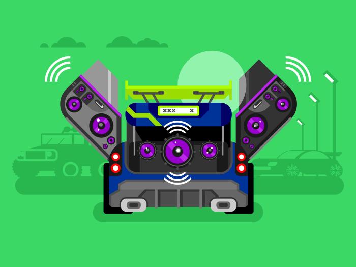 Car audio system flat vector illustration
