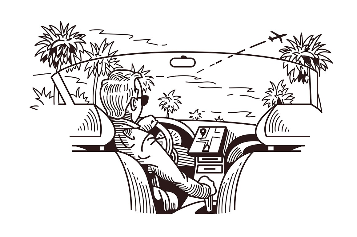 Car cab view vector illustration. Man driving modern car with navigator device flat style design. Cabriolet vehicle interior in black and white colours. Palms on road and taking off plane in sky