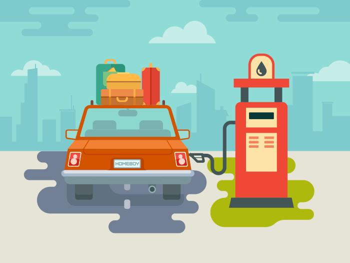 Refuel car at gas station flat vector illustration