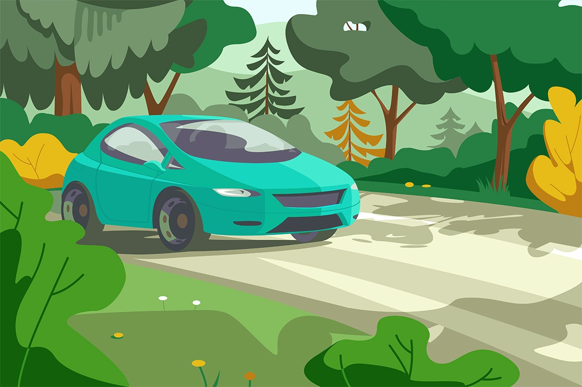 Car rides on forest road vector illustration. Modern vehicle on rural highway with beautiful landscape flat style design. Summer holidays travel concept