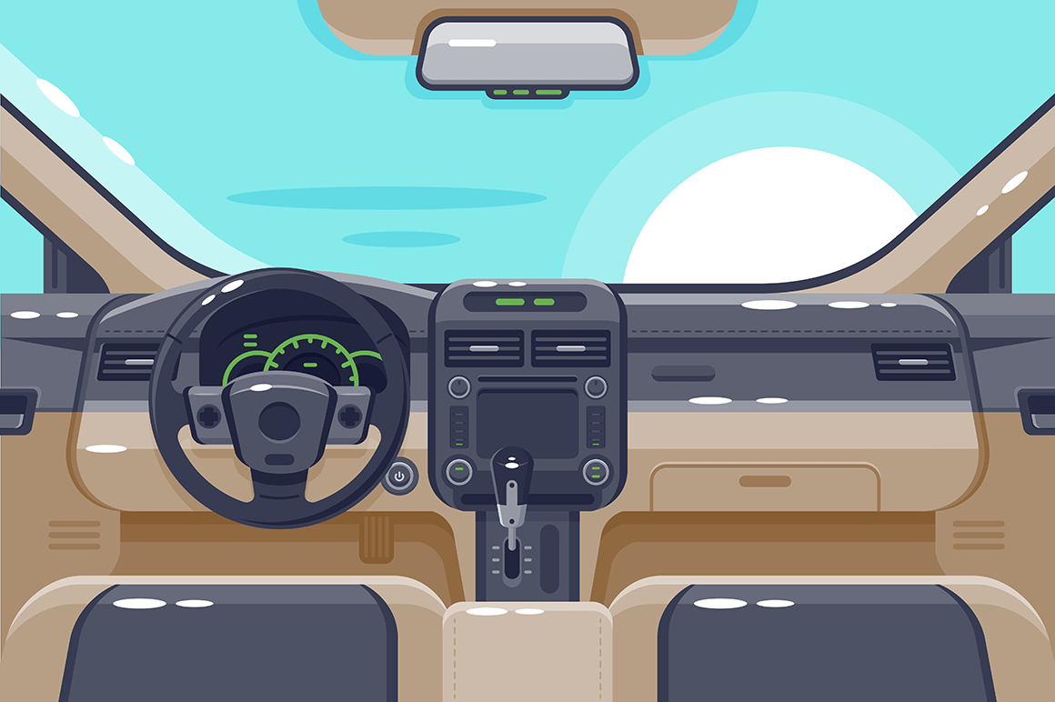 Flat insides of car interior with transmission, steering wheel, glove box, electronics and dashboard.