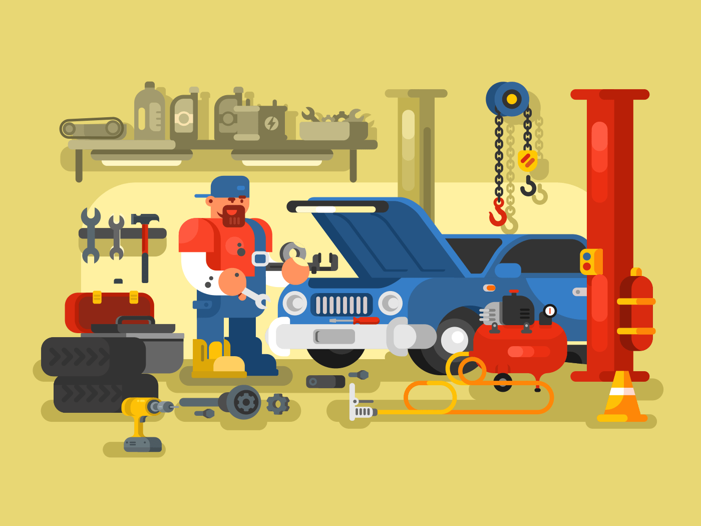 Mechanic Repairs Car in the Garage flat vector illustration