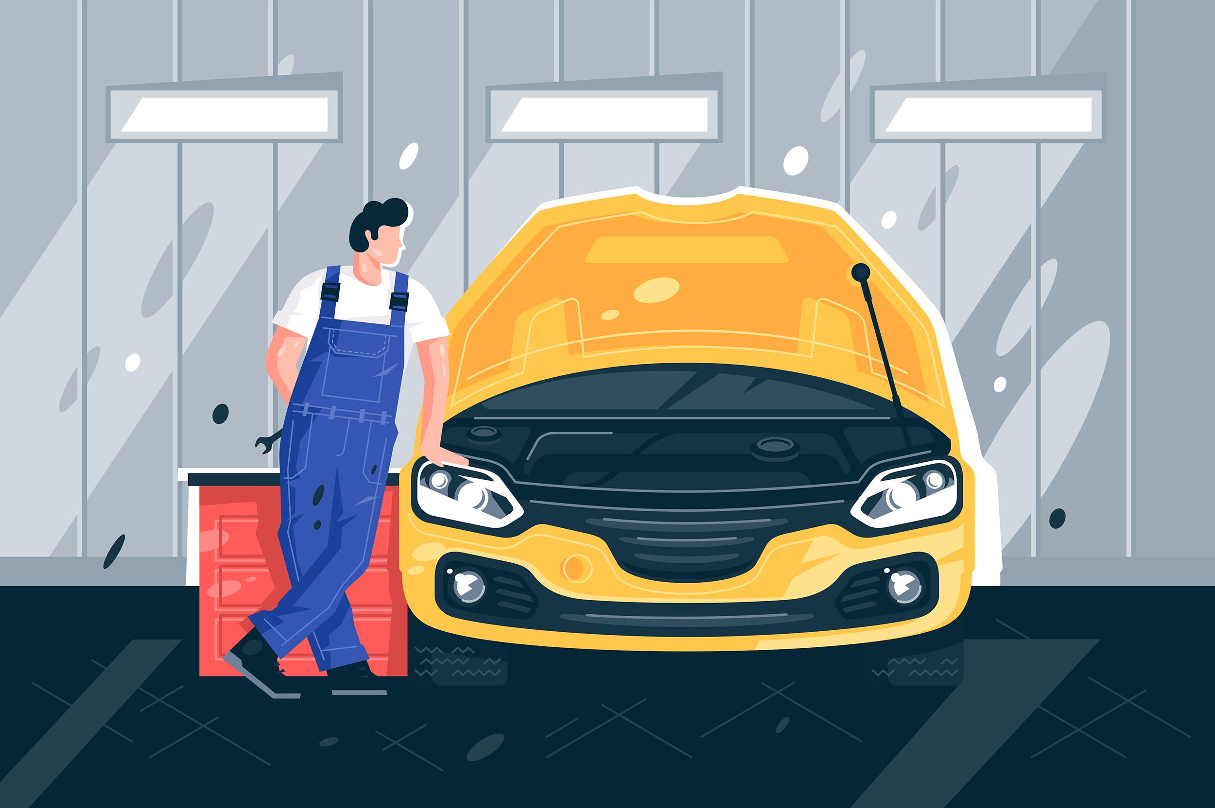 Flat young man mechanic near yellow machine in car service.