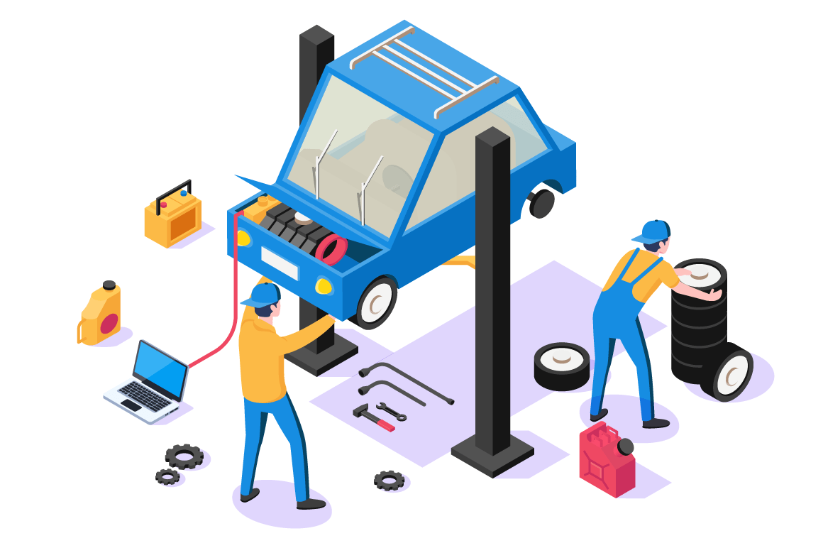 3d isometric man with repair equipment on car service.