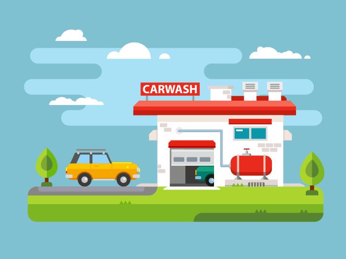 Car wash flat vector illustration