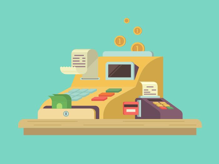 Cash register flat illustration