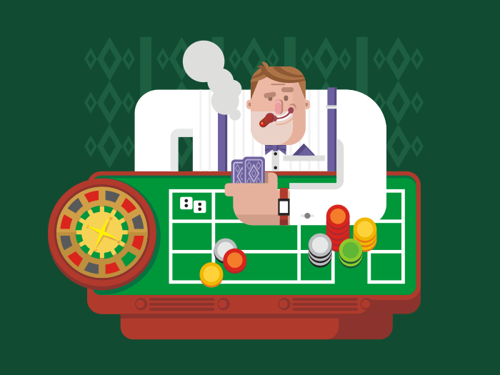 Gambler in casino flat vector illustration