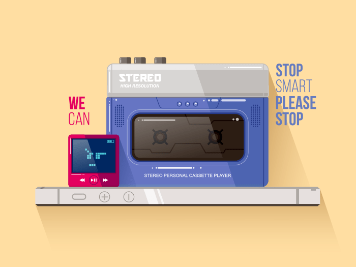 Cassette and mp3 playes vs iphone vector illustration