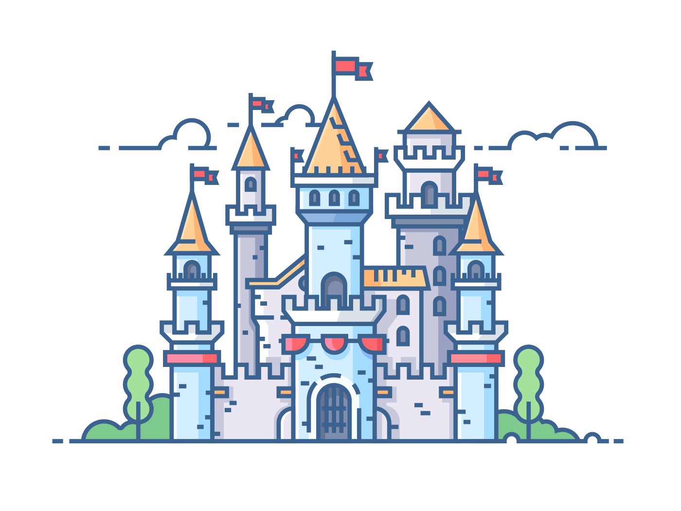 Medieval stone castle with gate towers and flags. Vector illustration