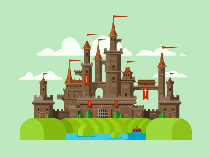 Medieval castle flat vector illustration