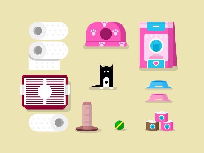 Kitten and accessories flat vector icons/illustration