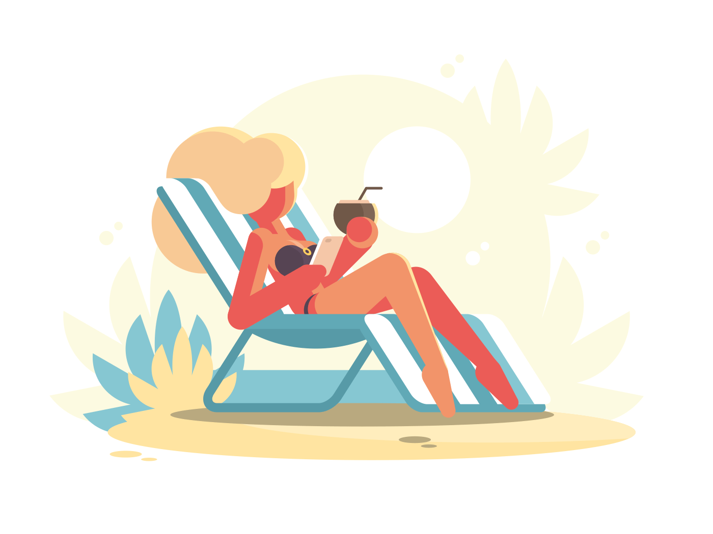 Young blonde lying on chaise longue on beach. Vector illustration