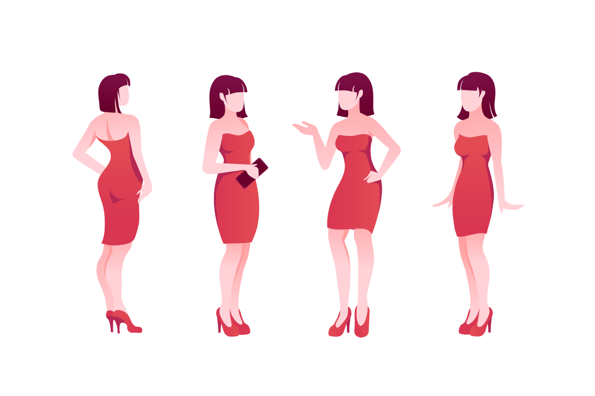 Flat poses set young woman character with red dress and shoes.