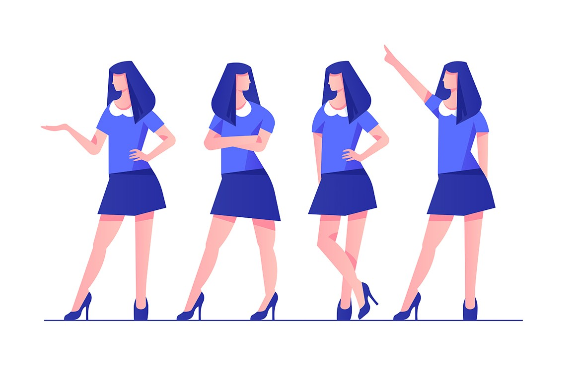 Set young woman character poses in blue modern style clothes.