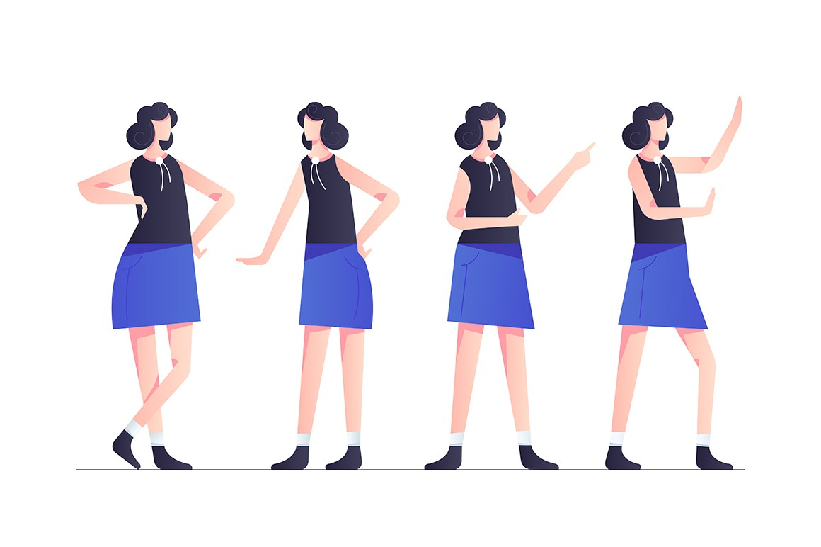 Set woman character poses in blue modern style clothes.