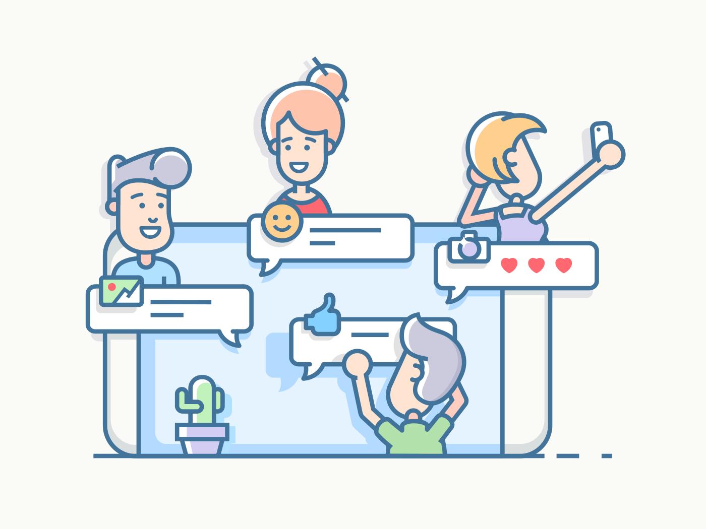 Friends talking in chat app line vector illustration