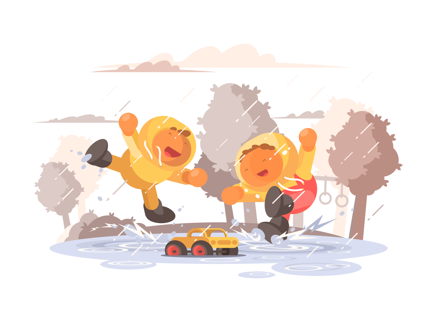 Happy children jumping in puddle illustration
